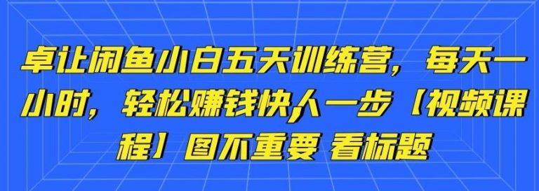 (1261期)卓让闲鱼小白五天训练营,每天一小时,轻松赚钱快人一步